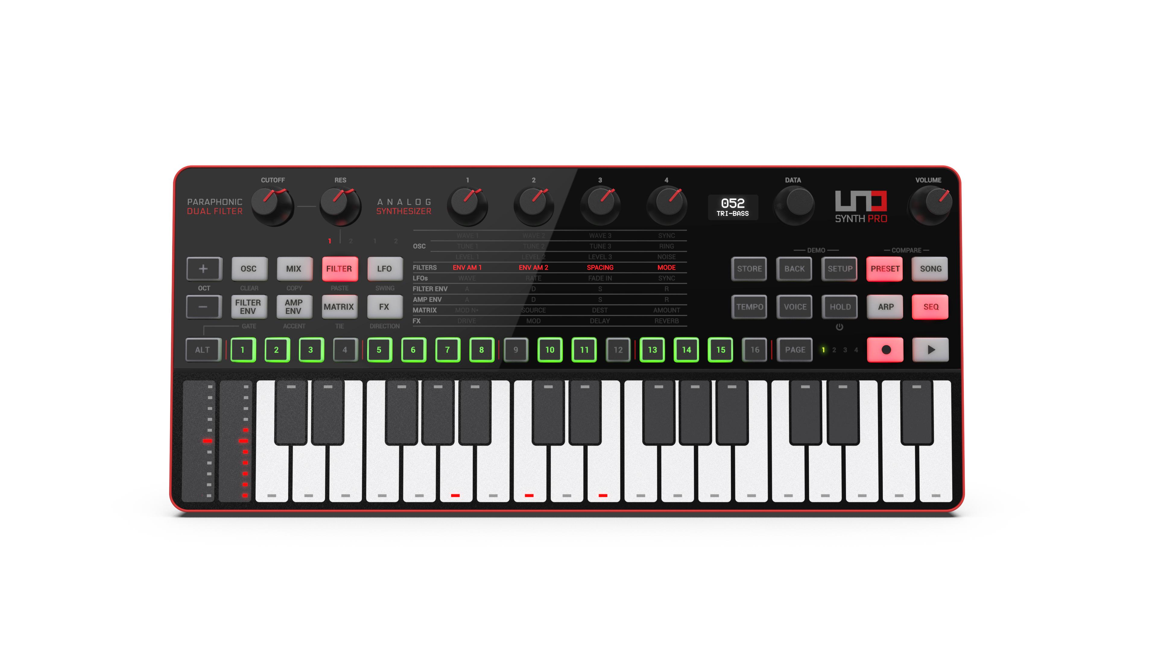 IK Multimedia Uno Synth Pro Desktop, paraphoner Dual-Filter-Analogsynthesizer [Musikinstrumente]