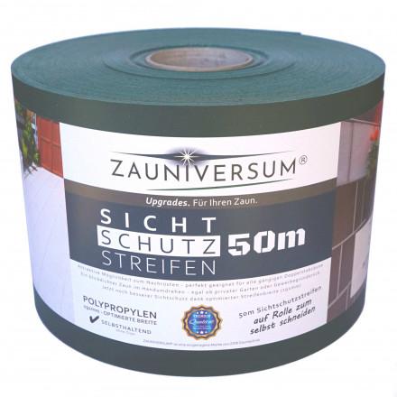 ZAUNIVERSUM® Sichtschutzstreifen 50m in Grün (RAL6005), Anthrazit (RAL7016) oder Grau (RAL7040), Polypropylen, Lederoptik