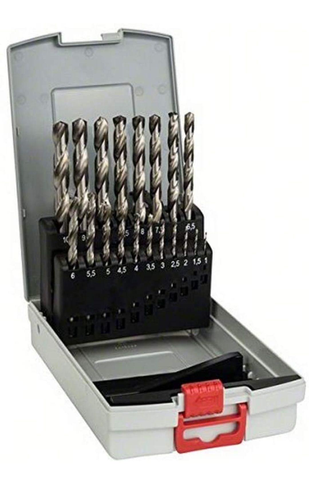 Bosch Professional 19tlg. ProBox Metallbohrer Set HSS-G geschliffen, Zubehör Bohrschrauber und Bohrständer (Prime)