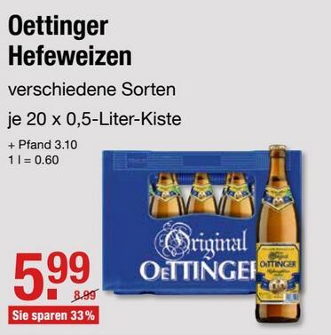 Oettinger Hefeweizen, Lokal V-Markt Schwaben / Oberbayern