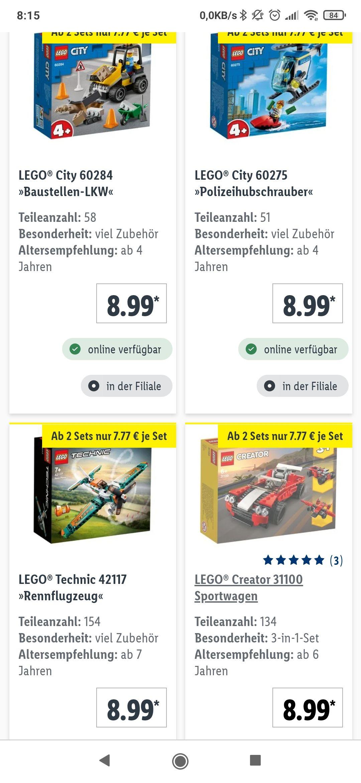 Diverse Lego sets 8,99 € bzw 7,77€ ab 2 sets bei lidl