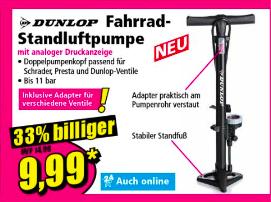 Stand- Fahrradpumpe Dunlop für Gelegenheitsfahrer