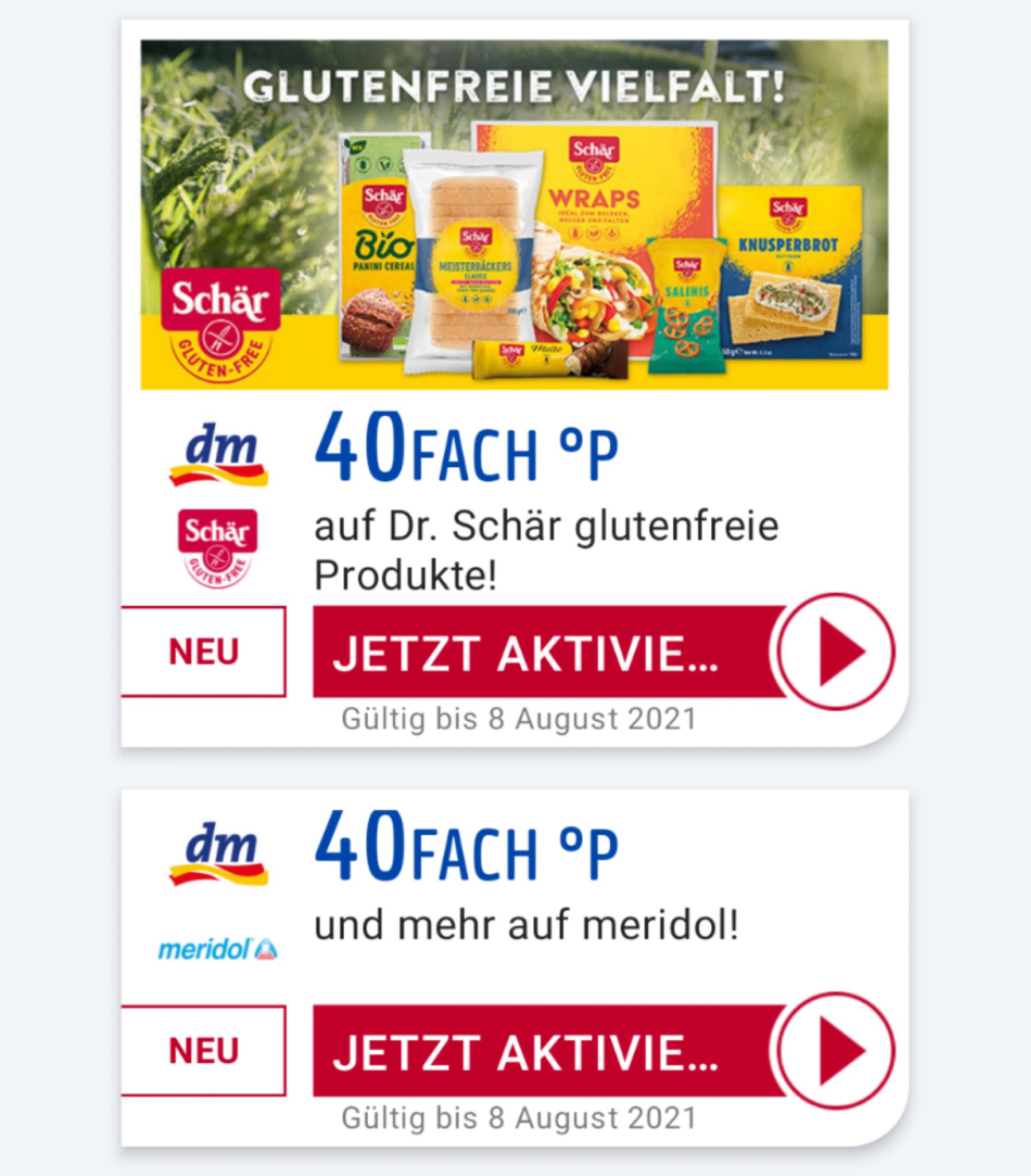 DM - 40fach payback Punkte auf Dr. Schär glutenfrei und meridol Produkte( personalisiert)+ weitere 20fach oder 15fach Coupons