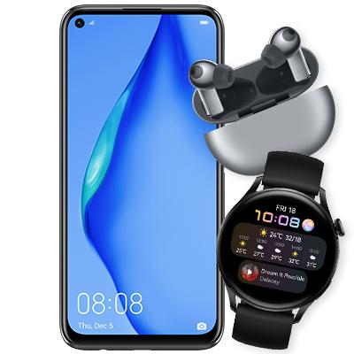 Huawei P40 Lite + FreeBuds Pro+ Watch 3 LTE im 15GB LTE Blau Tarif für 29,99€ ZZ & mtl. 20,99€ oder mit Watch 3 Pro 15GB LTE für mtl. 25,99€
