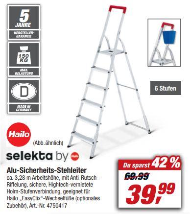 HAILO Aluminium-Sicherheits-Stehleiter 6-stufig 'L41 TB BasicLine' für 39,99 Euro [Toom Filiale]