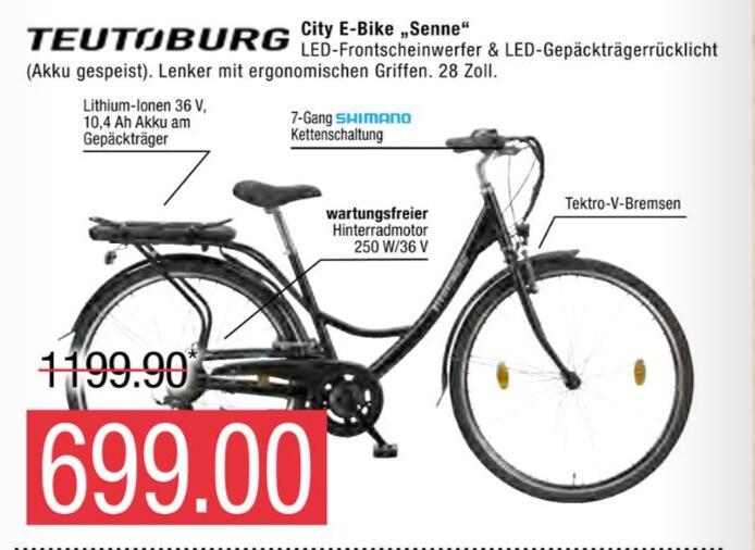 [Edeka Warnowpark Rostock] Teutoburg Senne City E-Bike / Pedelec 28Zoll