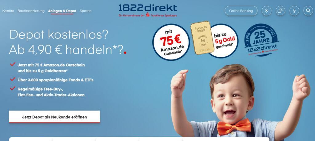 1822direkt-Jubiläumsangebot: 75 € Prämie für neues Depot + bis zu 5 Gramm Gold (~260€) + 30 € Cashback von Shoop