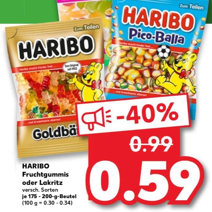 HARIBO Fruchtgummi oder Lakritz, div. Standardbeutel je 59 Cent statt 0,99 €