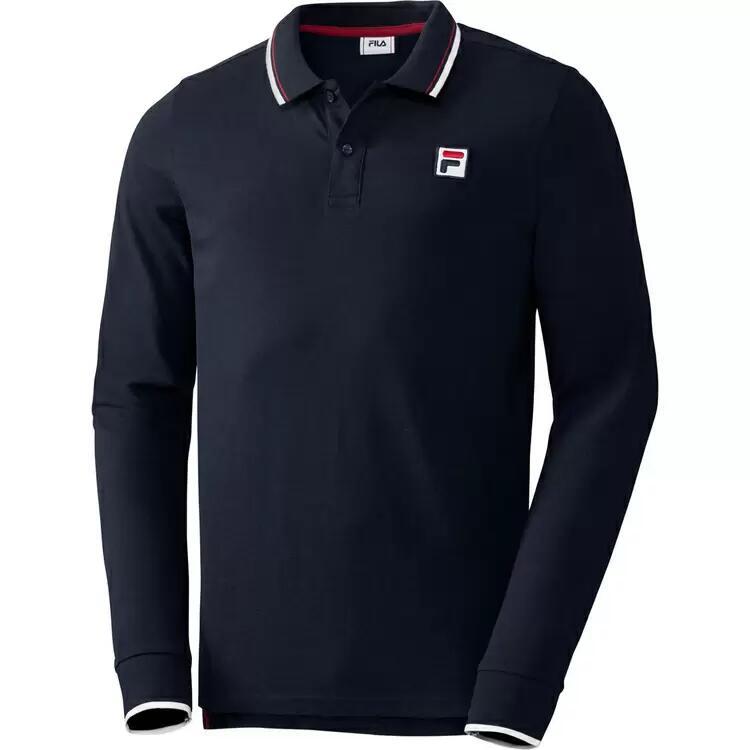 FILA Herren Langarm Poloshirt in 3 Farben (M-3XL) aus reiner Baumwolle