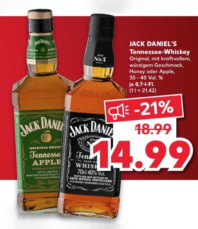 [KAUFLAND] Jack Daniels Whiskey oder Tanqueray Gin für 13,99€ (je 1 x 0,7l)
