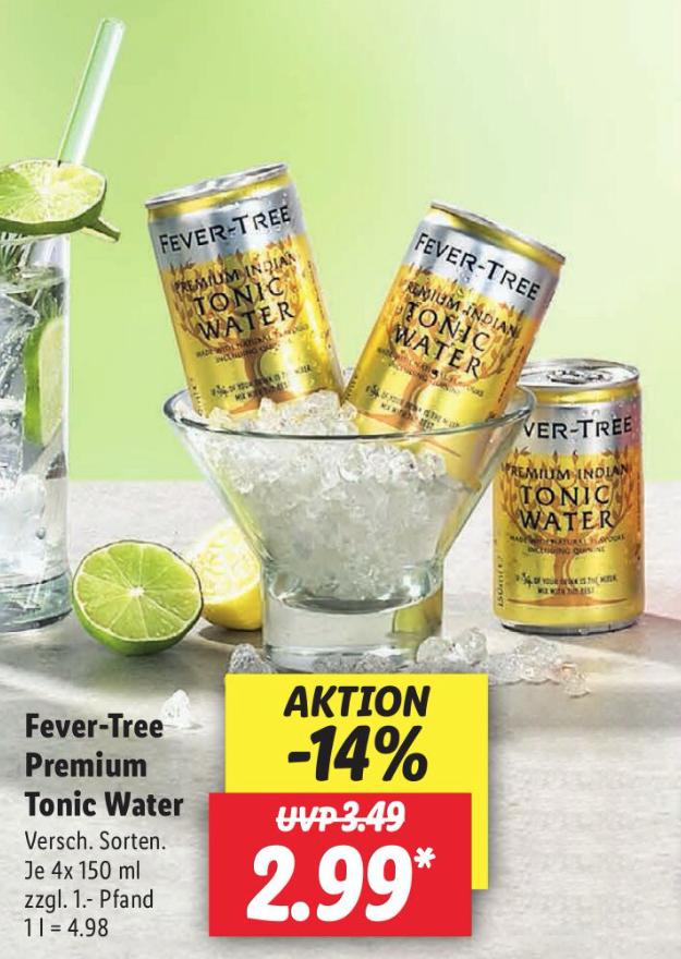 [LIDL] Fever-Tree Premium Tonic Water (4 x 0,15l, vers Sorten)
