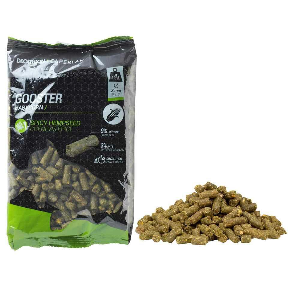 650 g Pellets (8mm) auf Maisbasis mit Hanf zum Anfüttern von großen Fischen (Filialabholung)