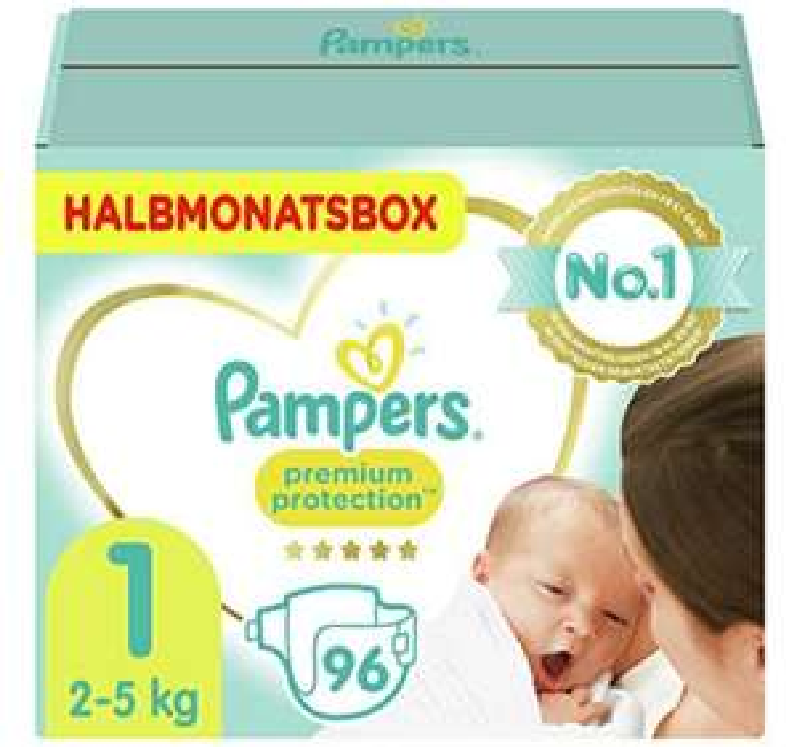 [Amazon Prime Sparabo + personalisierter(?) Rabatt] Pampers Baby Windeln Größe 1 (2-5kg), Premium Protection, 96 Stück, HALBMONATSBOX