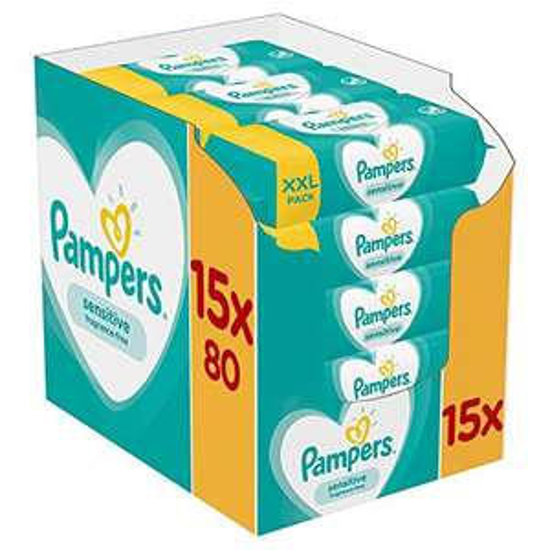 Pampers Sensitive Baby Feuchttücher, 1200 Tücher (15 x 80), 13,97€ möglich bei 5 Spar-Abos, Amazon Prime