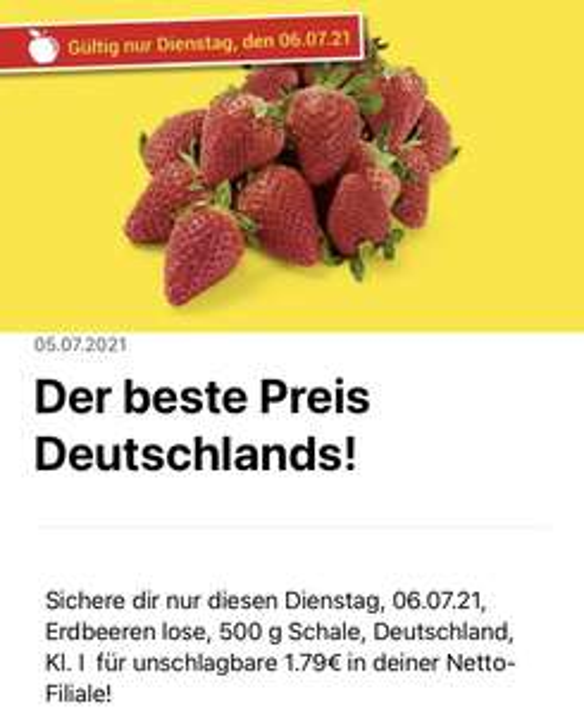 Netto (lokal? evtl. Überall?) 500g deutsche Erdbeeren