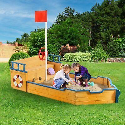 Juskys Sandkasten Käpt'n Pit - Piratenschiff aus Holz - mit Bodenplane und Sitzbank