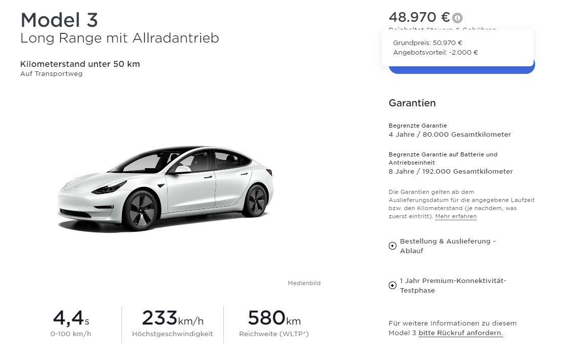 Tesla Model 3 LR MIC (2021er Facelift) + 1.500 SuperCharger-KM durch KWK