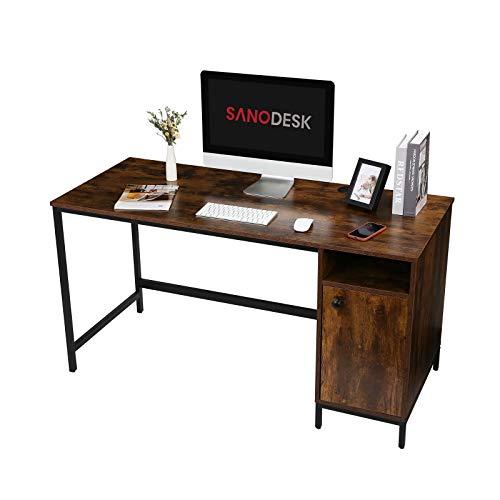 SANODESK FD Computertisch, Schreibtisch mit Schrank, 120x60x75 cm (Farbe: Walnuss+ Schwarz, mit Schrank)