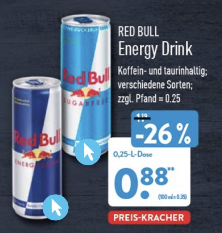 Aldi Nord: Red Bull zuckerfrei und mit Zucker für 0,88€