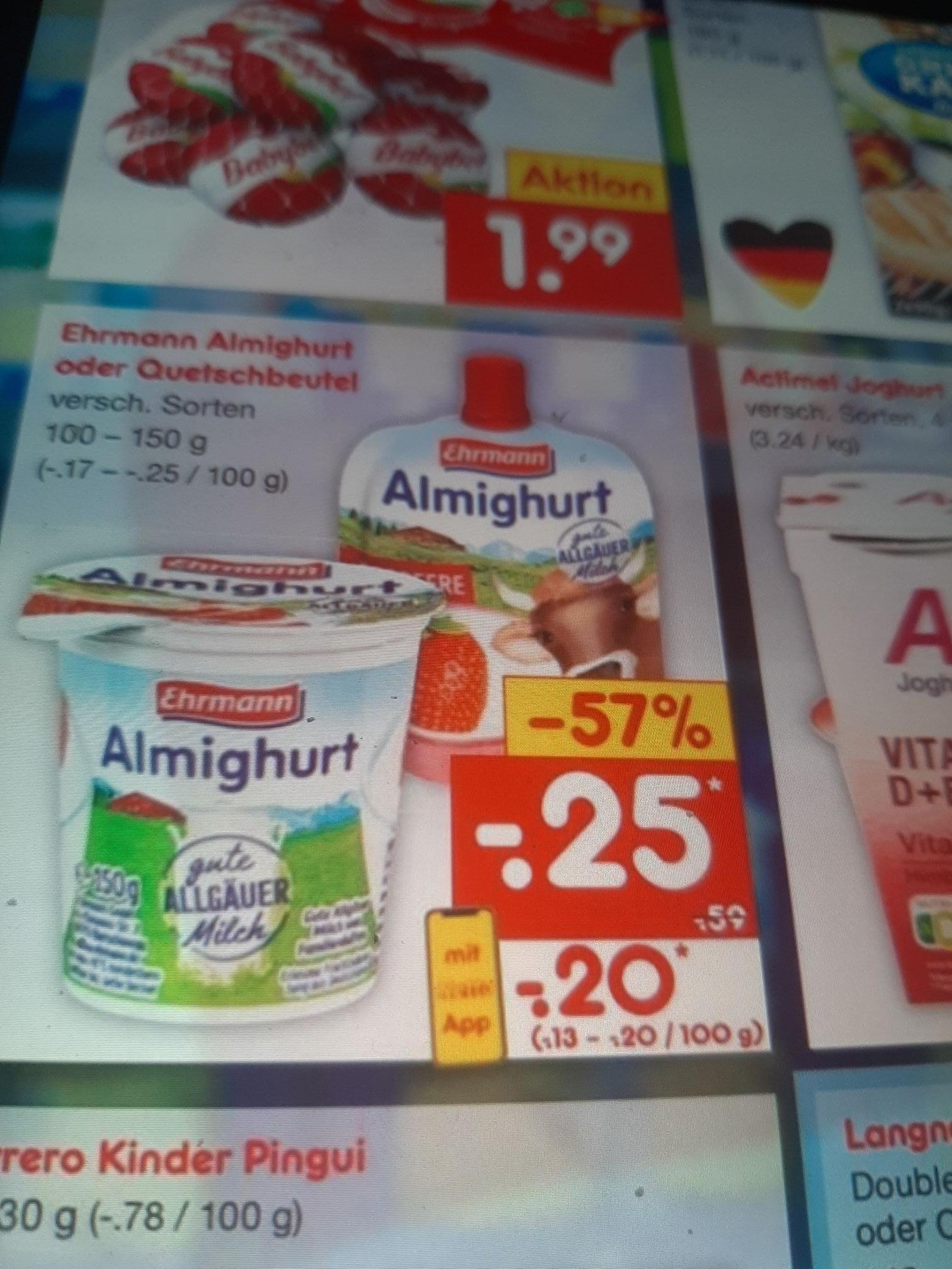 Netto Markendiscount Ehrmann Almighurt oder Quetschbeutel nur 0.20€ Dank Nettoapp.