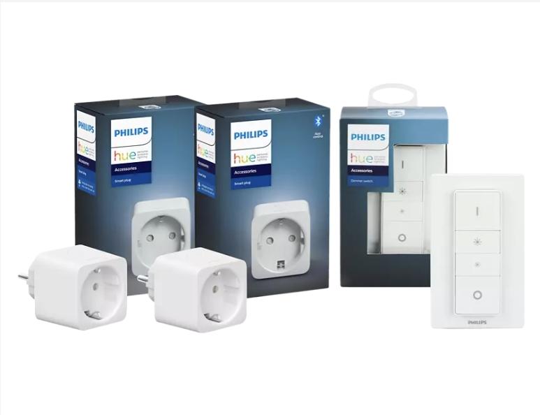 [Saturn/Mediamarkt -Abholung] PHILIPS Hue Smart Plug 2-er Pack inkl. 1 x Hue Dimmschalter für 47,-€