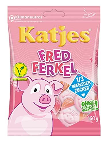 [amazon Prime] Katjes Fred Ferkel mit weniger Zucker – Kultige Schaumzucker Süßigkeiten in Schweinchen-Form (1 x 160 g)