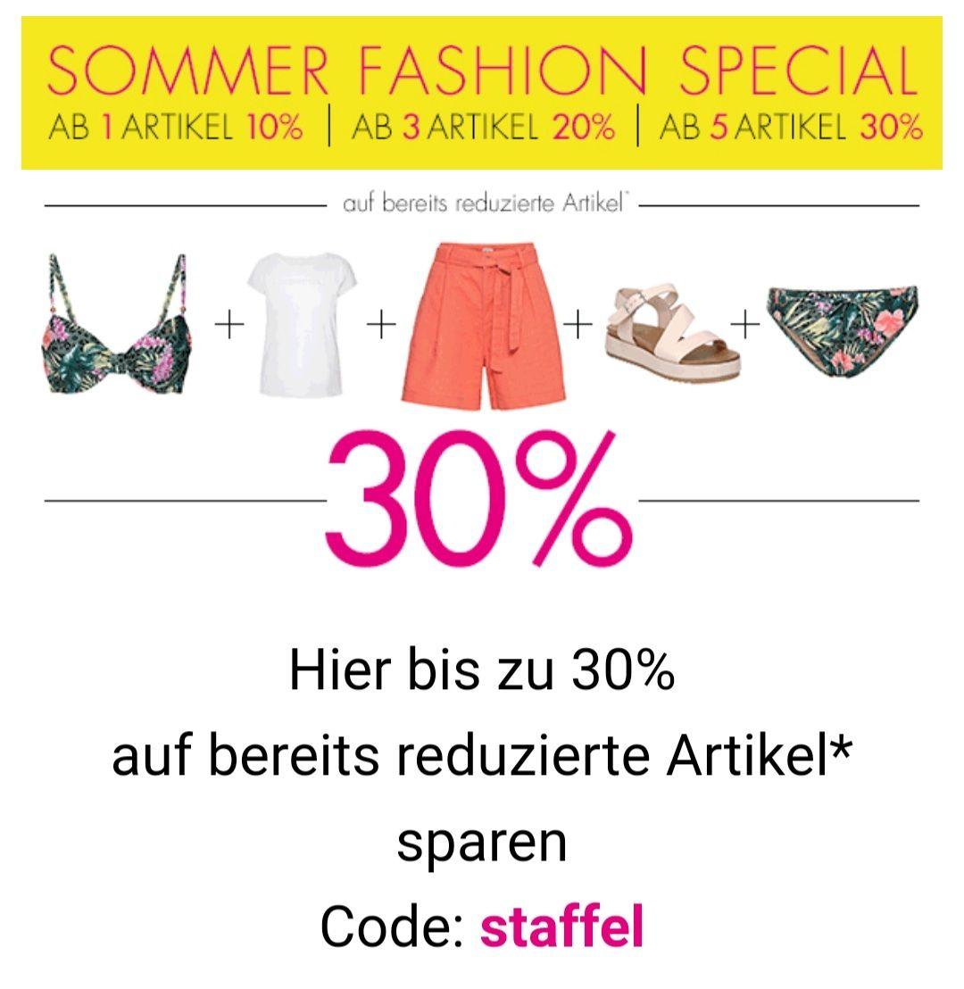 Galeria bis 30% sparen auf bereits reduzierte Artikel, Sommer Fashion Special mit Code: staffel