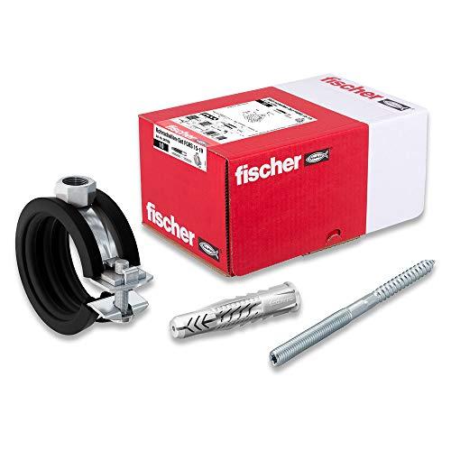 [Amazon Prime] Fischer Rohrschellen-Set FGRS 15-19 gvz (10 x Gelenkrohrschellen FGRS 15-19,10 x Stockschraube STST8x80,10 x Universaldübel )