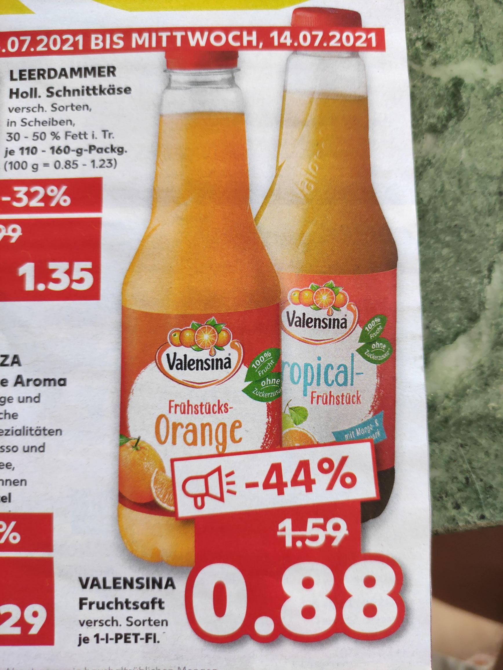 Wenn der Sommer auf sich warten lässt - Valensina Fruchtsaft je 1 Liter verschiedene Sorten [Kaufland offline bundesweit?]