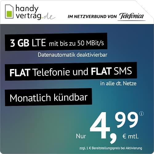 3GB LTE handyvertrag.de Tarif für mtl. 4,99 mit Allnet-Flat, Telefonica-Netz (mtl. kündbar)