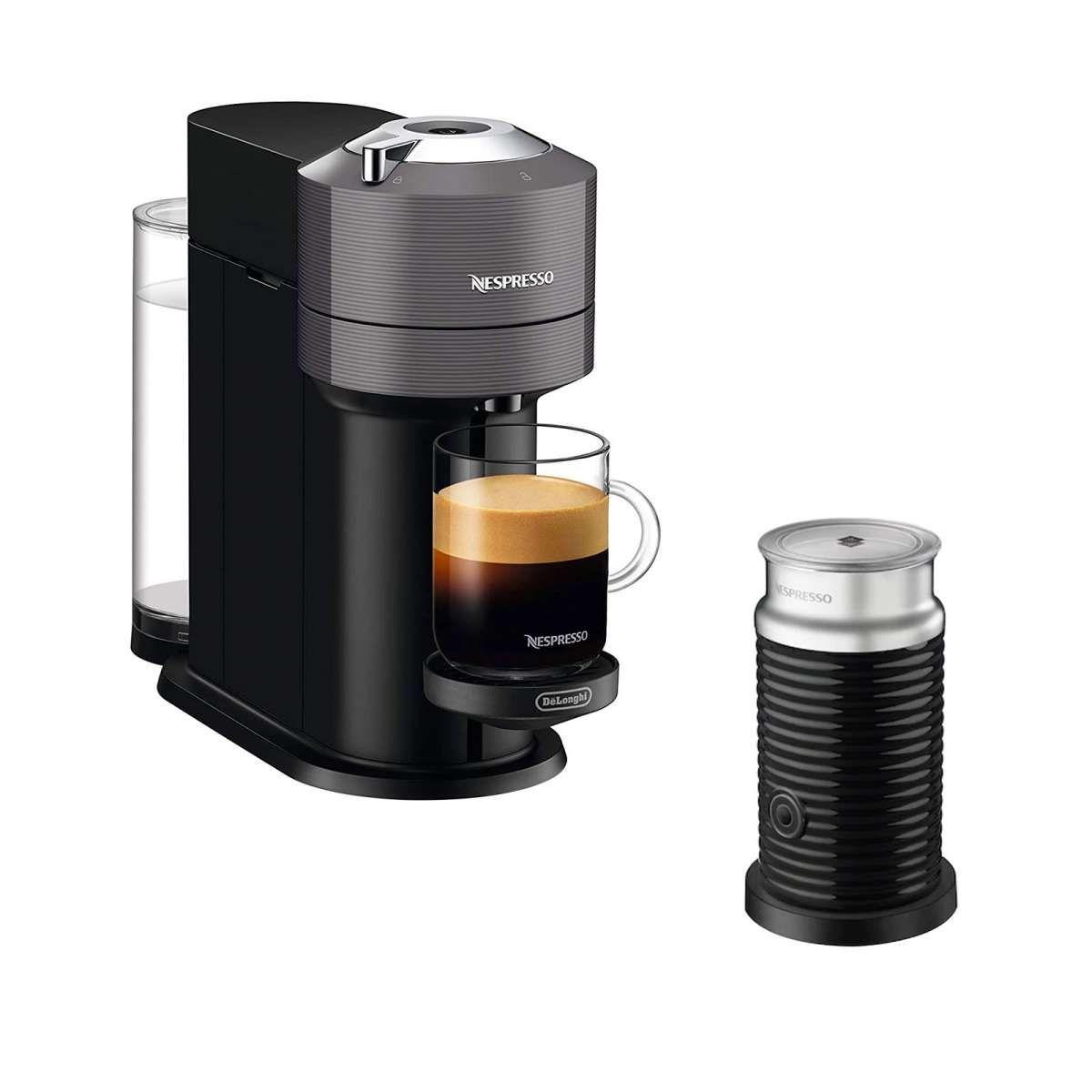Kapselmaschine DeLonghi Nespresso Vertuo Next grau inkl. Aeroccino Milchschäumer