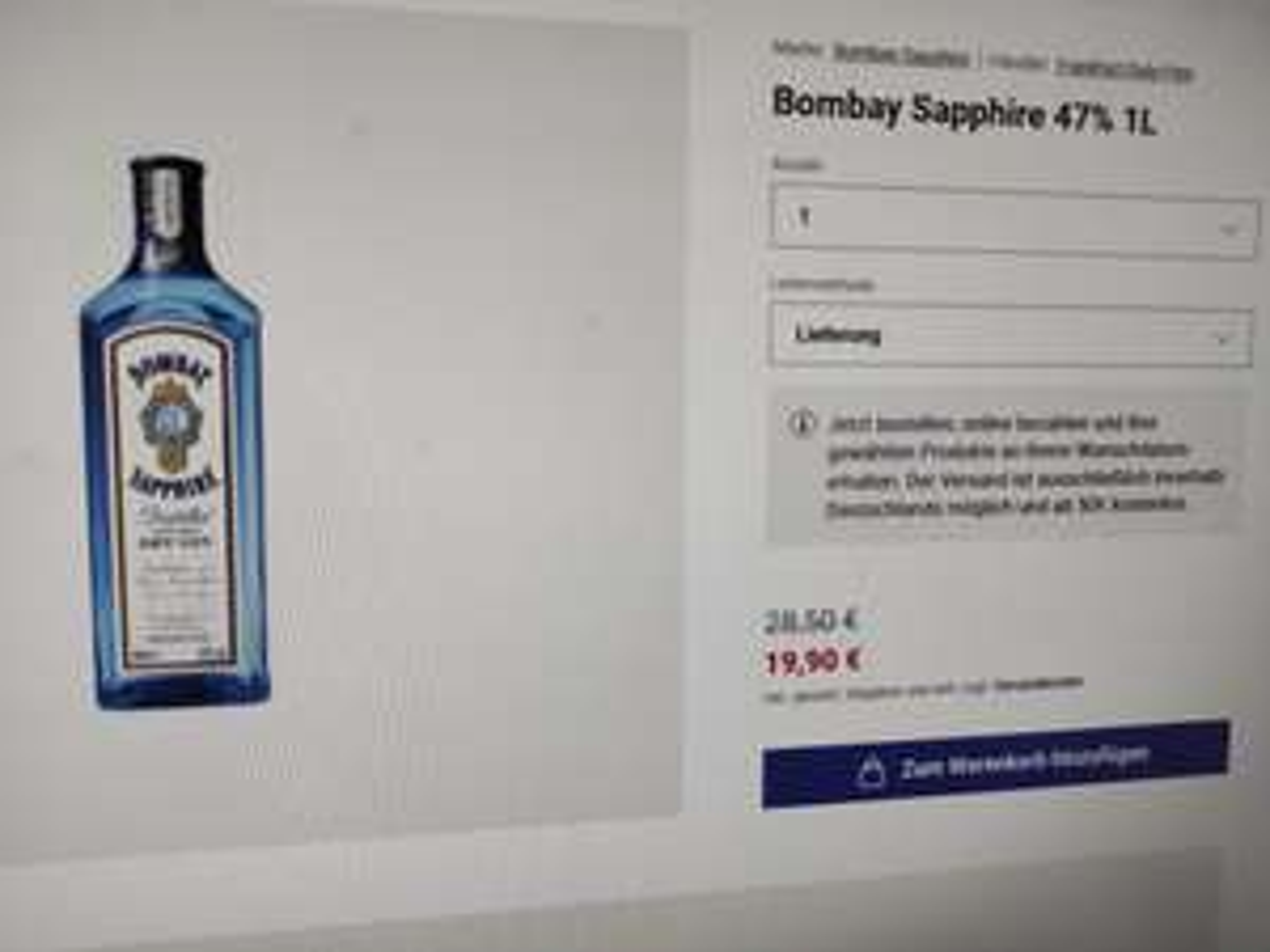 Bombay Sapphire Gin 47% 1 Liter