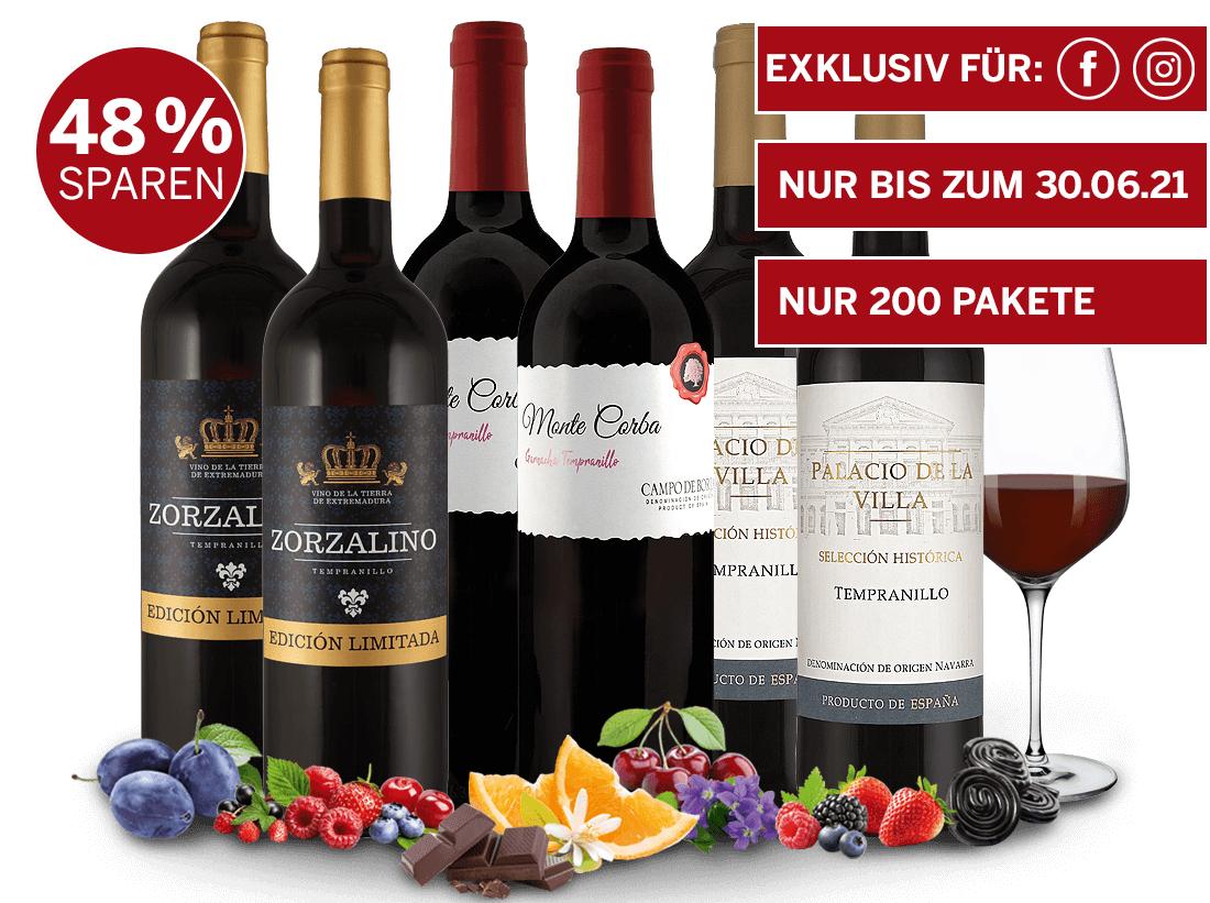 Ebrosia: Weinmischpaket 7 Flaschen für 14,98 € portofrei