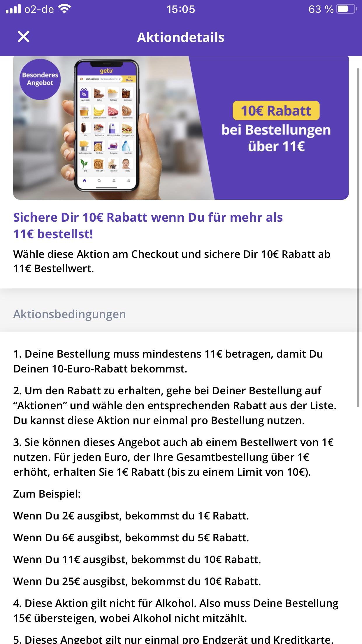 BERLIN Getir Gutschein 15€ oder 10 € nach Bestellung erhalten