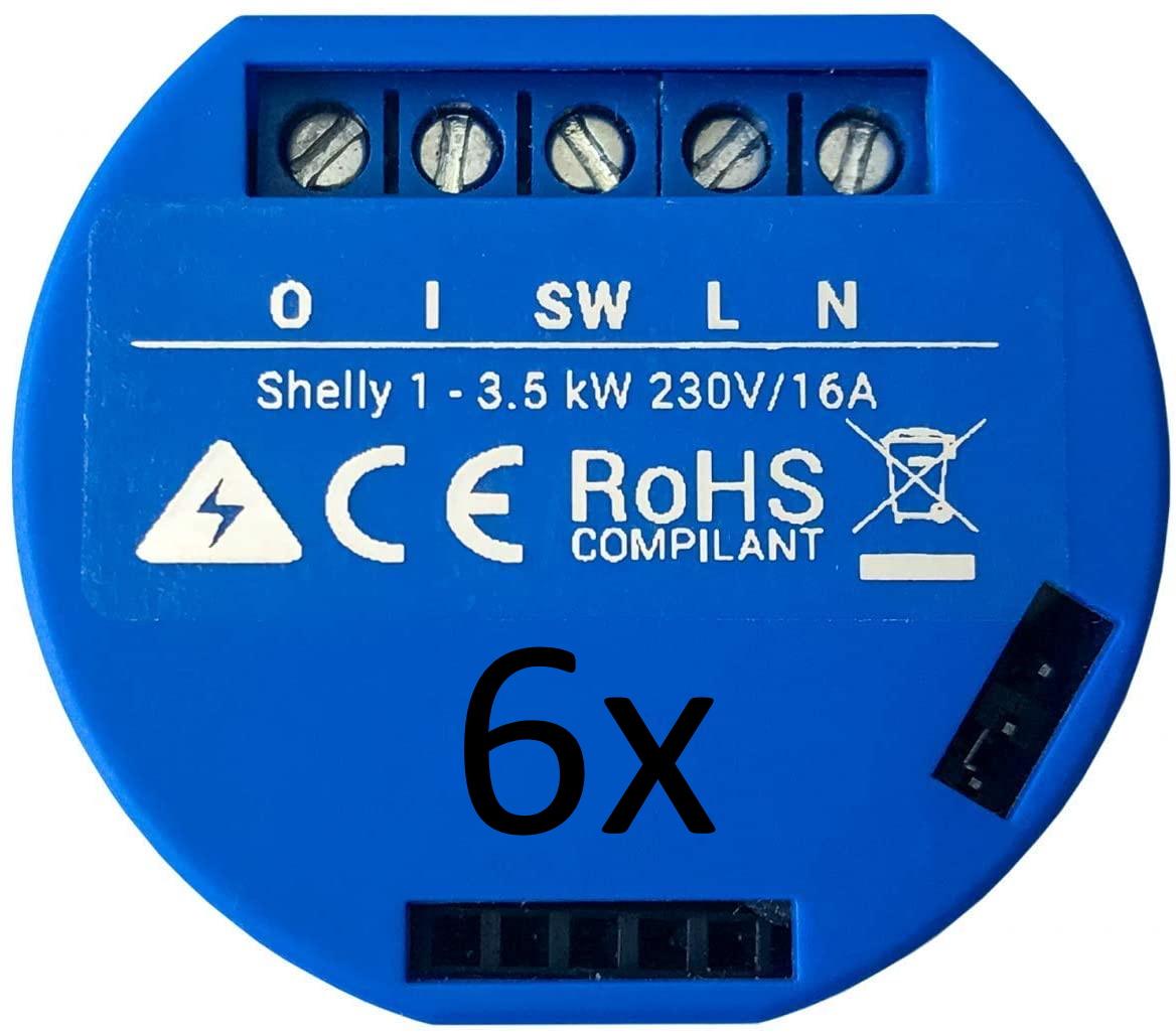 6x Shelly 1 WLAN-Unterputzschalter für 54,95€ oder 10x für 89,95€