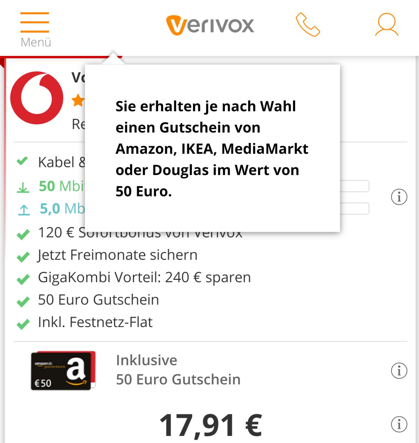50€ Amazon/Ikea/Media Markt/Douglas Gutschein bei Verivox (DSL Vertrag Vodafone)