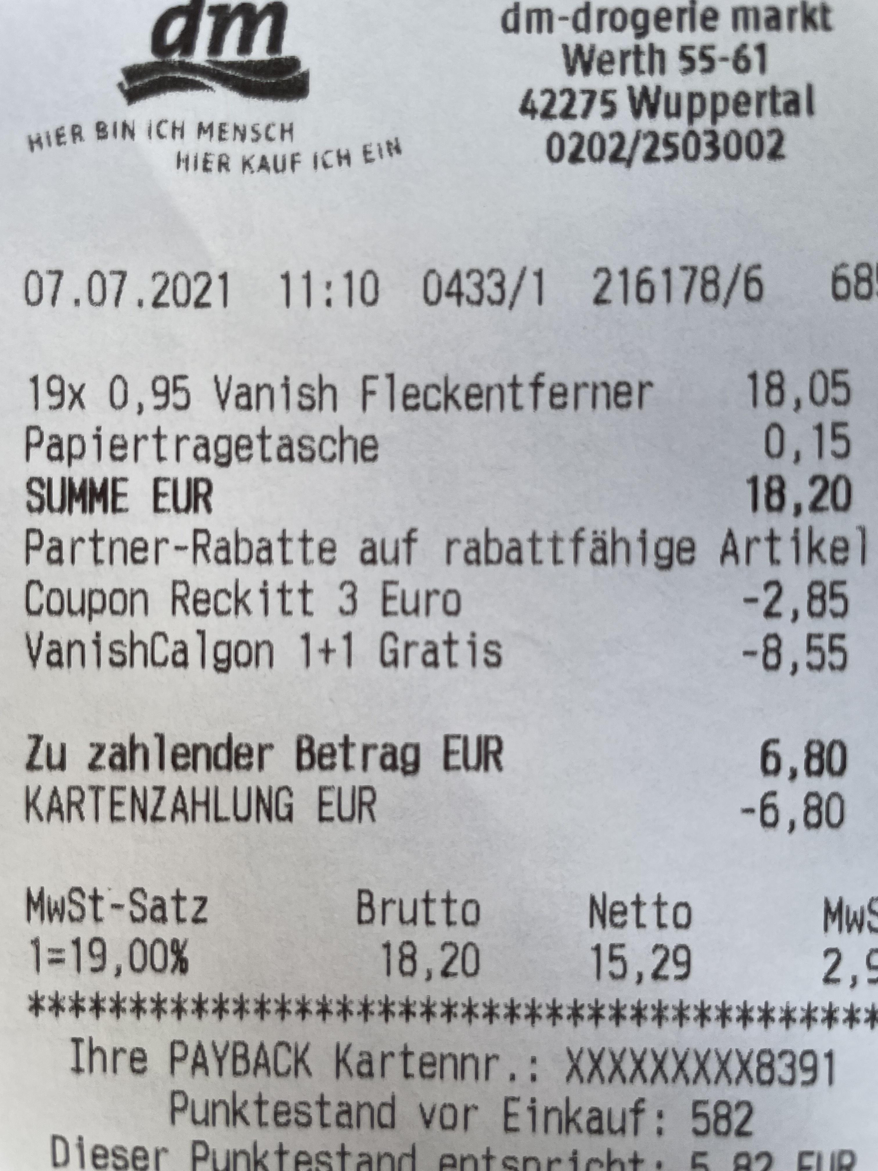 Dm Vanish Fleckentferner 1 kaufen 1 gratis -3€ Coupon -33 Fach Payback Punkte plus 20 Fach auf gesamten Einkauf