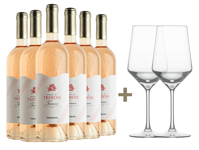SOMMERAKTION: 6x Rosé di TreRose Toscana IGT 2020 + 2 Zwiesel Gläser GRATIS