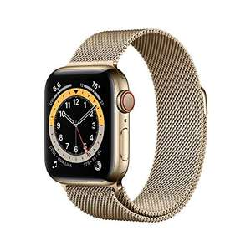 AppleWatch Series6 (GPS+ Cellular, 40mm) Edelstahlgehäuse Gold, Milanaise Armband Gold