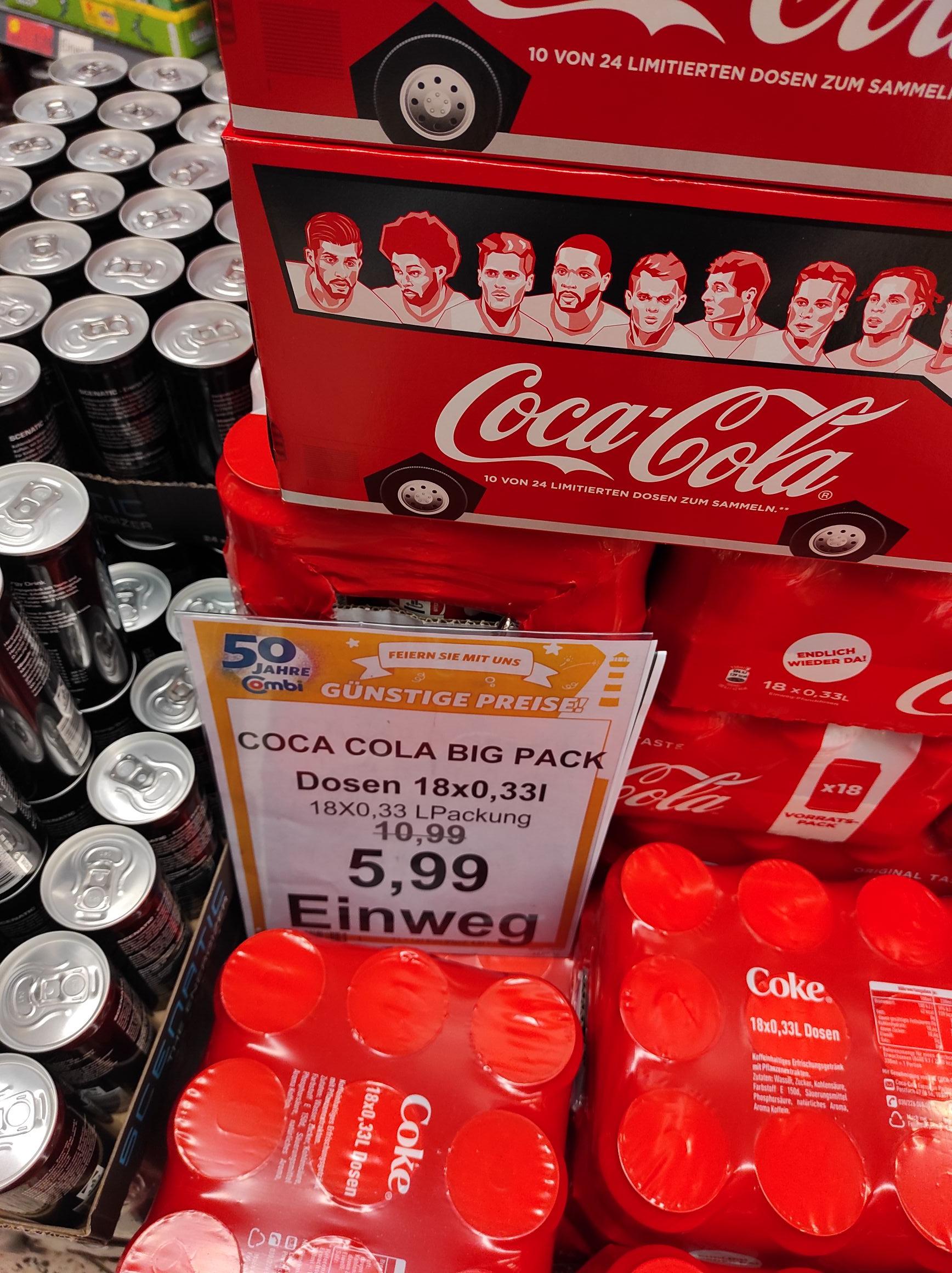 Coca Cola, 18* 0,33 Dosen (mglw. lokal)