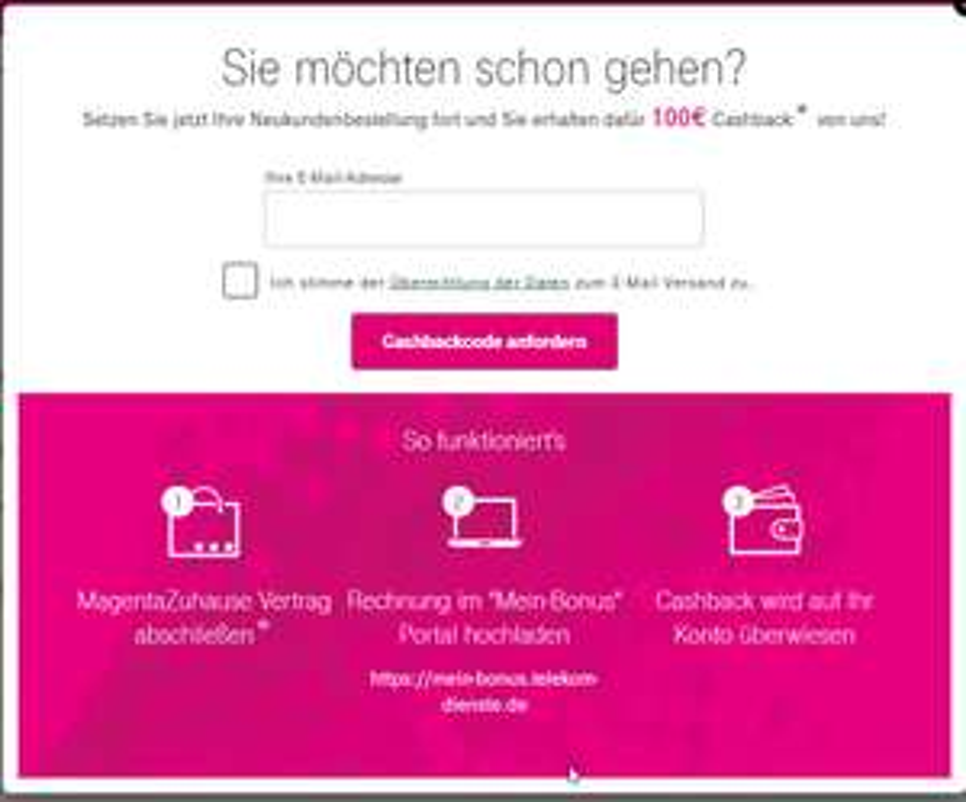 100 € Cashback bei Wechsel zur Telekom (evtl. personalisiert)