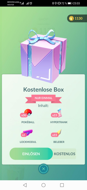 [Pokémon Go] Kostenlose Box - Pokebälle, Lockmodule, Hpyertrank, Beleber