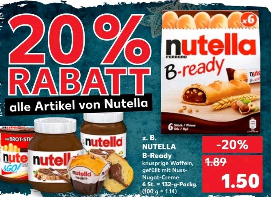 Kaufland: 20% auf alle Nutella Produkte