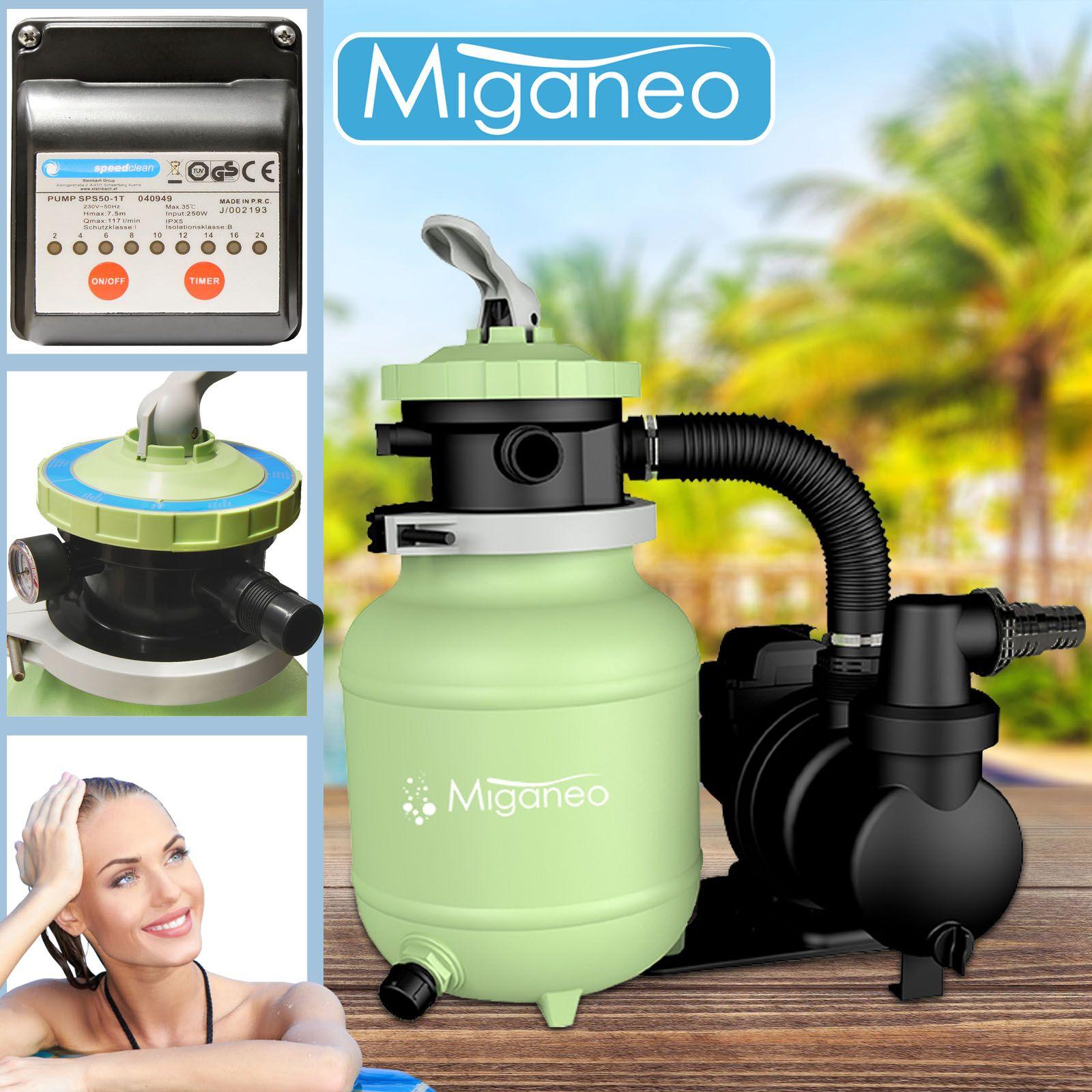 Miganeo Sandfilter Speed Clean 7000 selbstsaugend Zeitschaltuhr