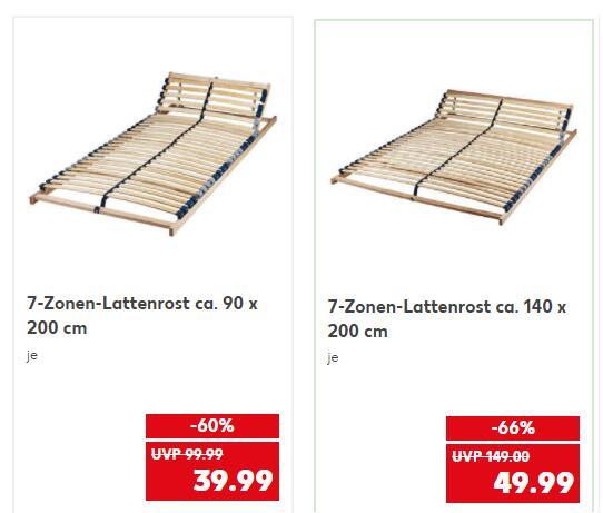 7-Zonen-Lattenrost / verstellb. Kopfteil / 5 Jahre Garantie / B 90cm = 39,99 € bzw. 140cm = 49,99 € @ [Kaufland ab 15.07.]