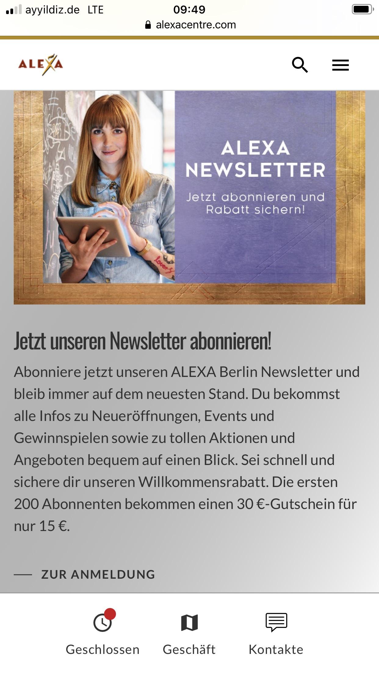 Alexa Berlin ( Lokal) Newsletter + Gutschein