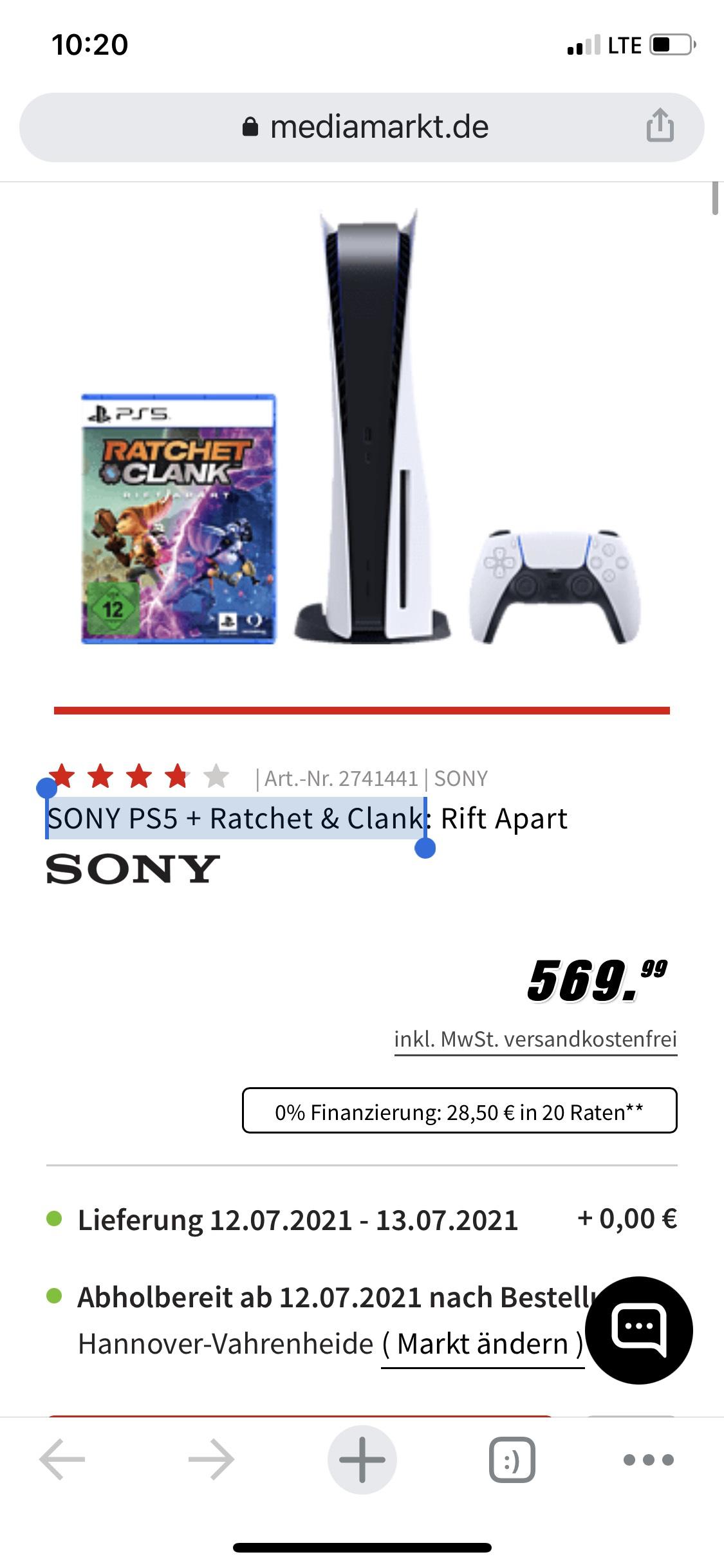 SONY PS5 + Ratchet & Clank PlayStation 5