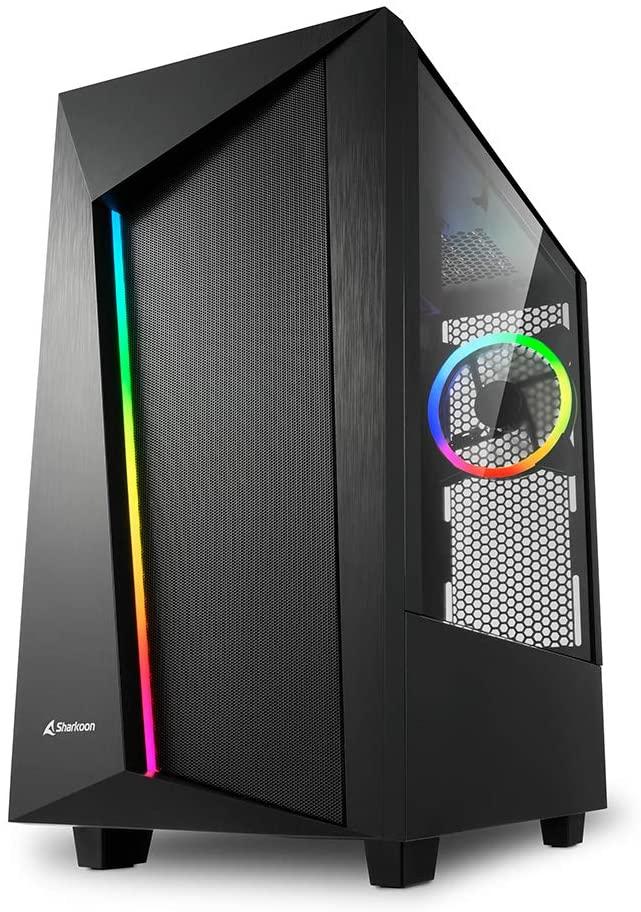 Sharkoon REV100 | PC-Gehäuse Midi/Minitower ATX | RGB (+20% FPS) | Fenster auf der rechten Seite