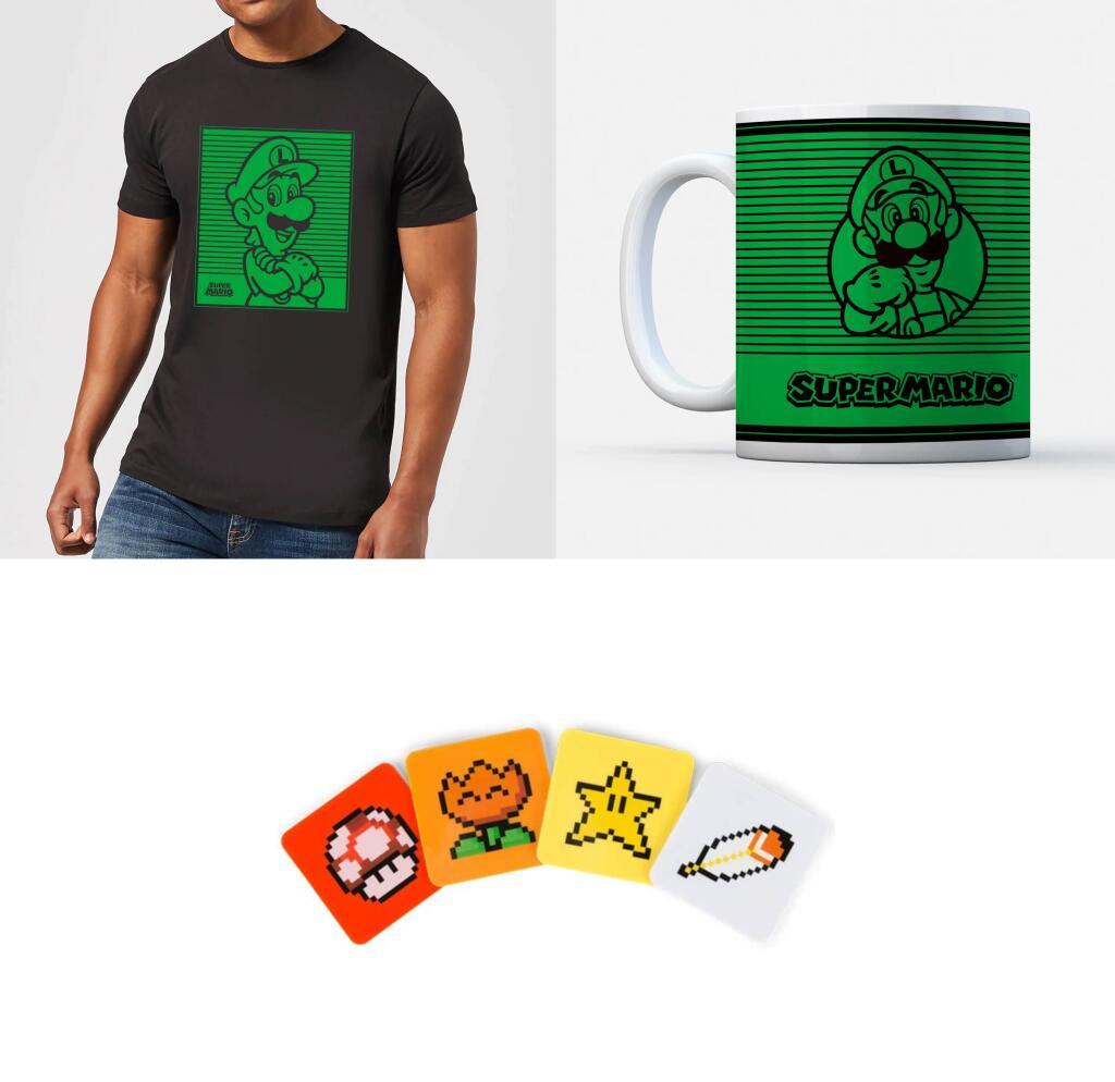 Super Mario Bundle bestehend aus T-Shirt (Gr. XS - 5XL), Tasse (je 3 verschiedene Motive) und Untersetzer für 12,98€