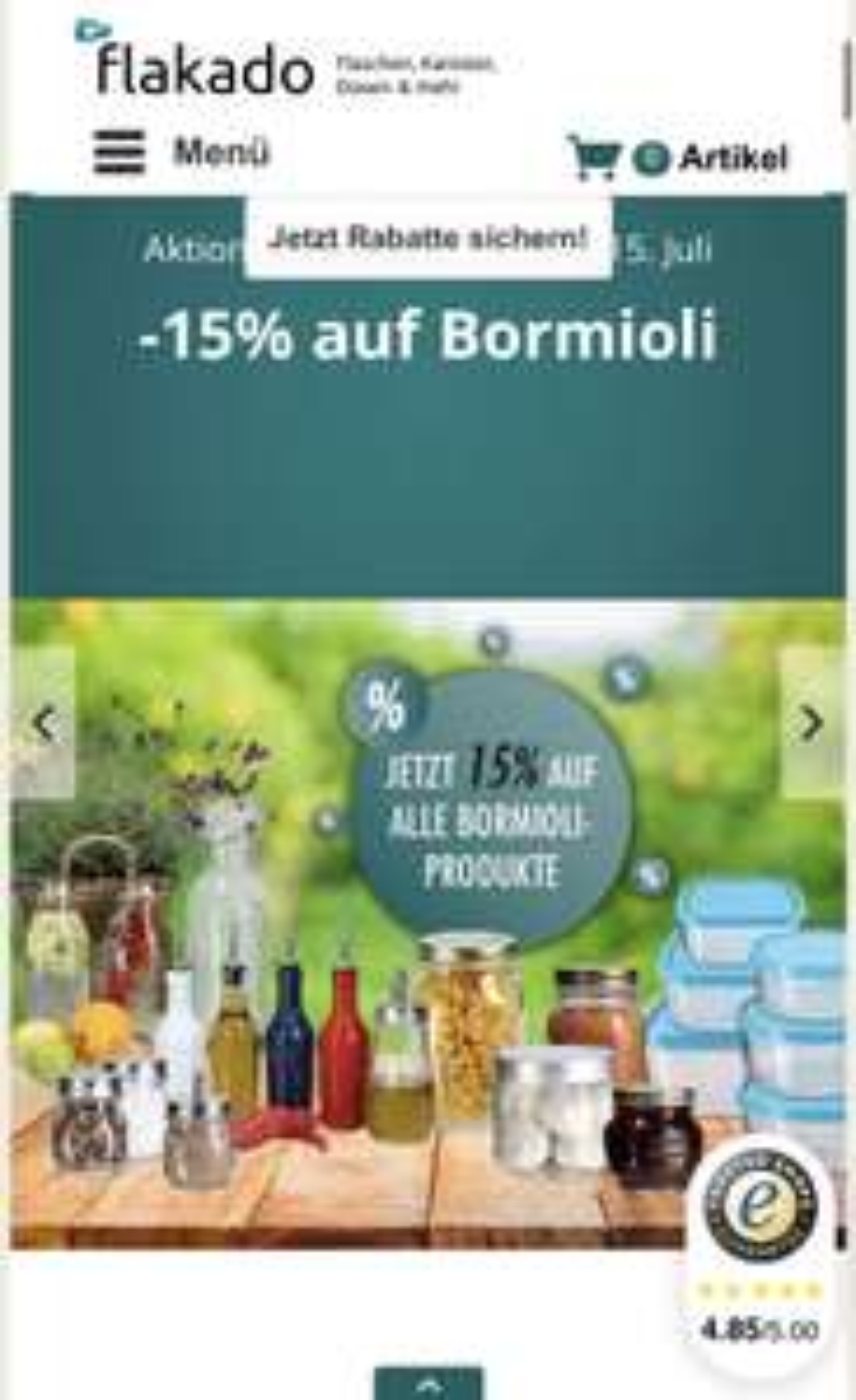 15% auf Bormioli Artikel